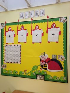 Maths board. Alice in wonderland themed. Hoping to be a working progress and space for more. Green hedgehogs can be a changeable number line (decimals, negative etc). Operation cards- chn to find all the different ways of saying + - x and /. Could use playing cards for place value.