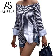ANSELF Rayó Impresión de Las Mujeres Del Hombro de La Blusa Roza Cuello de Manga Larga Camisa de Las Mujeres Tops Blusas de Las Señoras de La Vendimia Blusas