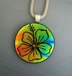 Round Dichroic Fused Glass Flower Pendant Hand Etched by GlassCat, $40.00