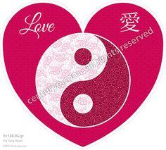 Yin Yang Heart • 陰陽ハート • freestanding and foldable heart-card for standard envelopes • hc168.04 • #Karte #Herz #Dekoration #Liebe #YinYang #Papier www.centuryo.com