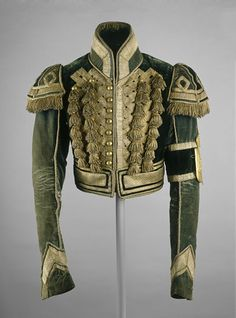 Okay, this is pretty fierce-to-death. I would stomp the pavement in this every day.  Postilion's jacket, 1825-55  From the Moscow Kremlin Museums via the V