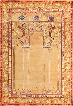 18th Century Antique Double Niche Ottoman Rug 48648
