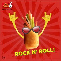 Don't you just love rolling with our Chicken Spring Rolls? Restaurant Advertising, Chicken Spring Rolls, Food Puns