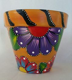 Painted clay pot hand painted flowerpot by brilliantexpressions Flower Pot Art, Flower Pot Crafts, Clay Pot Crafts, Painted Plant Pots, Painted Flower Pots, Yellow Paint Colors, Yellow Painting, Black And Red Kitchen, Kitchen Yellow
