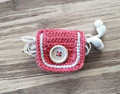 Coral Crochet Cord Holder Headphone by LittleKnittedThing on Etsy