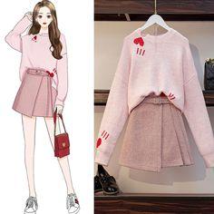 Love Heart Sweater A-Line Skirt Set - Cute Outfits Korean Girl Fashion, Ulzzang Fashion, Harajuku Fashion, Kawaii Fashion, Cute Fashion, Trendy Fashion, Fashion Drawing Dresses, Fashion Illustration Dresses, Fashion Dresses