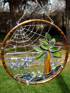 Stained Glass and Copper Country Garden Suncatcher
