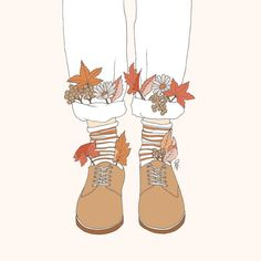 Autumn Walks 🍂 On Society6 now! (Please ask for permission prior to using this image for personal use) #illustration #drawing #sketch…