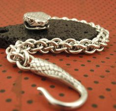 Large Argentium Sterling Silver SNAKE Hook by UnkamenSupplies, $50.00