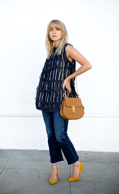 Always Judging in a Kahle top, Citizens of Humanity flare crop jeans, Manolo Blank heels, and Chloe drew bag