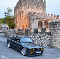 Grey e30 bmw coupe on bbs rs