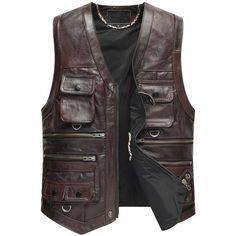 Leather Vest Men The New Cow Leather Jacket For Motorcycle Outerwear Retro Vintage Biker Vest Mens Leather Waistcoat, Men's Leather Jacket, Cow Leather, Leather Coats, Suit Vest, Vest Men, Jacket Men, Vest Outfits, Denim Outfit