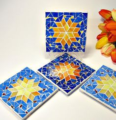 Stained glass mosaic 4 coaster set by threesisterscandles on Etsy Stained Glass Birds, Sea Glass Art, Mosaic Crafts, Mosaic Projects, Mosaic Vase, Mosaic Tiles, Mosaic Designs, Mosaic Patterns, Mosaic Supplies
