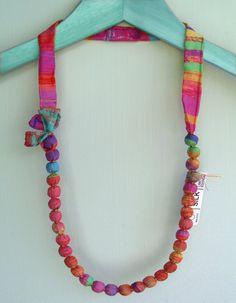 Colorful Necklace Multicolor Beads Silk by DesignedByImaPico