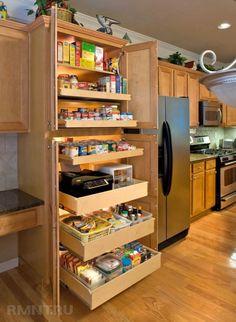 Make a Small Kitchen Feel Bigger - kitchen ideas small storage design, kitchen design, ShelfGenie National Imágenes efectivas que le p - Clever Kitchen Storage, Kitchen Pantry Design, Kitchen Cabinet Organization, New Kitchen, Organization Ideas, Small Storage, Storage Ideas, Cabinet Ideas, Cheap Kitchen