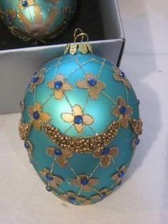 SET-OF-3-TEAL-GOLD-LARGE-EGG-SHAPE-BLOWN-GLASS-Embellished-HOLIDAY-ORNAMENTS