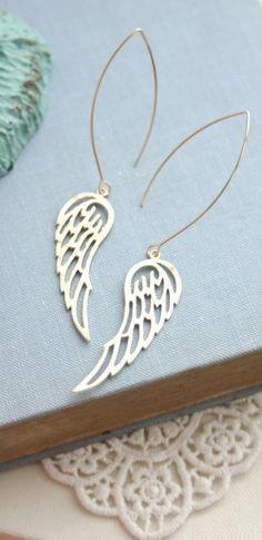 Gold Wings Earrings. Gold Angel Wings Earrings, Flying Wings Jewelry by Marolsha. https://www.etsy.com/listing/210116398/gold-textured-wings-earrings-wedding