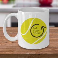 Tennis Mug Tennis Cup Tennis Gifts Eat Sleep Tennis Coffee Customised Mugs, Custom Mugs, Tennis Online, Tennis Gifts, Mug Art, Mugs For Men, Eat Sleep, Mug Designs, Your Best Friend