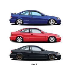 Honda 1999 Honda Civic Si and Friends print – Jamin's Vector Car Art 1999 Honda Civic, Honda Civic Si Coupe, Civic Coupe, Civic Jdm, Honda Vtec, Volkswagen, Rims For Cars, Japanese Cars, Jdm Cars