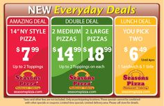 Seasons Pizza offers many everyday specials. Delivering Pizza Salads Pasta Wings and Local Favorites Seasons Pizza, Lunch Deals, Ny Style, Liquor Store, Spirit Store