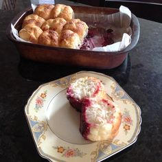 Overnight Lemon Raspberry pull apart buns! 15 frozen rolls, 3/4 cup white sugar, 1/4 cup lemon instant pudding mix, 2 cups frozen raspberries, 1/2 cup melted butter. Just before you go to bed line 9 x 13 pan with parchment sprinkle sugar, lemon pudding powder and raspberries to cover bottom of pan. Place rolls in the pan and spoon over melted butter. Cover with Saran and let rise overnight. Bake 20-25 min at 350 deg. So yummy with a cup of coffee!