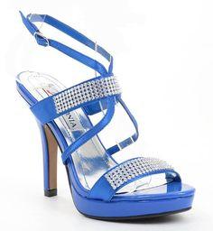 Blue Satin Jeweled Strappy Anklet Platform Sandal Formal Heels