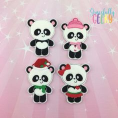 Panda Family  finger puppet set - Embroidery Design