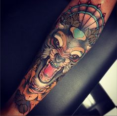 Image result for wolf neo traditional tattoo