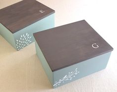 Handmade wooden boxes with customized lettering. Artwork and lettering are made from hand-cut stencils. Click on: shttps://www.etsy.com/listing/127848646/two-customized-wooden-boxes-keepsake-box?ref=shop_home_active         ***Designs and images used to represent this item, may not be copied or posted by any other person or entity without written expressed consent from Gary at Modern Vintage Art.  © 2014 Modern Vintage Art, all rights reserved ***
