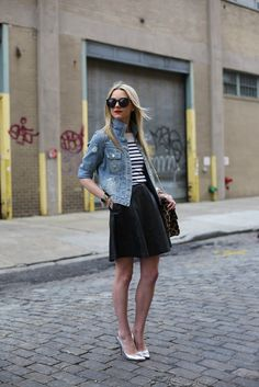 Jean jacket, stripes, skirt and shoes.