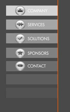 Menu i forskellige farver inden for grå farveskala der passer vores farvepalette, bokse til punkterne med hover af en art. %ikonerne. orange streg(skal dig være rød) til at opdele siden