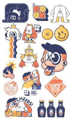 Rook Stickers Pack on Behance Line Illustration, Illustration Artists, Graphic Design Illustration, Creative Illustration, Character Concept, Character Design, Space Drawings, Graffiti Characters, Cute Cartoon Wallpapers