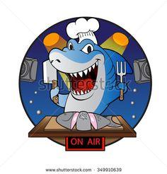Cartoon shark chef.