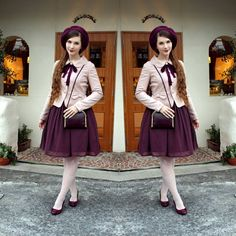 Last weekend, I tried the really good patisserie #joiejoie326 before going to the lantern festival in #murasakimura (hence the purple outfit). Dress: #innocentworld  Jacket: #secrethoney  Beret: #parkhurst  Shoes: #naturalizer  Tights: #hue Bag: #vintage  #fannyrosie #fashion #jfashion #classiclolita #casuallolita #vintagestyle #longhair #ootd #読谷村 #沖縄