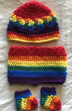 Rainbow Magic Baby Outfit / Beanie Diaper Cover & Booties / Handmade Crochet Gift Set by KARDsandGifts on Etsy https://www.etsy.com/listing/558293612/rainbow-magic-baby-outfit-beanie-diaper