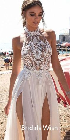 New halter white prom dress,high slit wedding dress,sexy evening dress with . - - New halter white prom dress,high slit wedding dress,sexy evening dress with lace ,charming wedding on Storenvy Source by frankawindsberger Prom Dress With Train, Slit Wedding Dress, Wedding Dresses 2018, Prom Gowns, Dress Prom, Lace Wedding, Evening Dresses For Weddings, Jeweled Wedding Dresses, Revealing Wedding Dresses