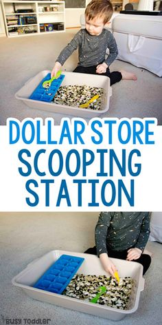 Dollar Store Scooping Station Activity – Busy Toddler Dollar Store Scooping Station Activity Dollar Store Scooping Station Activity – a simple sensory activity for toddlers; keeping toddlers busy with Busy Toddler Sensory Activities Toddlers, Infant Activities, Toddler Sensory Bins, At Home Toddler Activities, Activities For 3 Year Olds, Sensory Bottles Preschool, Activities For Autistic Children, Outdoor Activities For Toddlers, Baby Sensory Play