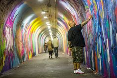 A beautification of the tunnel to the subway station includes works by five artists, making the five-minute walk to the 1 train in Washington Heights a bit more vibrant.