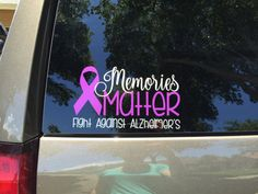 This purple and silver Alzheimers awareness decal is approx. 6 x The colors stand out beautifully on the car windows. All proceeds of… Car Decals, Vinyl Decals, Walk To End Alzheimer's, Alzheimers Awareness, Funny Shirts, Memories, Vinyls, Car Windows, Handmade Gifts