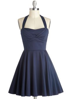 I love the simplicity of this dress! It is so simple and elegant! Perfect for homecoming :) plus I love navy!!! Hopefully getting this for my senior homecoming!  Traveling Cupcake Truck Dress in Navy, #ModCloth