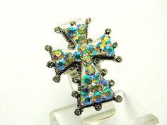 16.99$   Sassy Art Ab Clear Crystal Vintage Look Big Cross Stretch fashion Ring Jewelry
