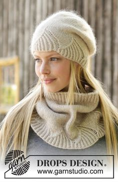 White Amaryllis – Knitted hat and neck warmer with rib in 1 strand DROPS Lima and 1 strand DROPS Kid-Silk. – Free pattern by DROPS Design – Надежда Колосова – Join the world of pin Crochet Mittens Pattern, Knitting Patterns Free, Knit Patterns, Free Knitting, Clothing Patterns, Knit Crochet, Crochet Hats, Free Pattern, Neck Pattern