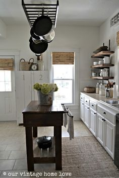 I love this Simply White kitchen on Our Vintage Home Love! Farmhouse Style Kitchen, Country Kitchen, New Kitchen, Kitchen Decor, Kitchen Design, Farmhouse Blogs, Kitchen Ideas, Walnut Kitchen, Farmhouse Kitchens