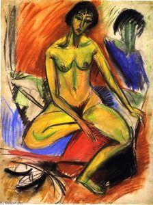 Sitzender Akt weiblicher - (Ernst Ludwig Kirchner)
