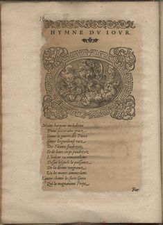 Hymne du jour. Hymnes du temps et de ses parties, Lyon, Jean de Tournes, 1560, in-4, exemplaire remonté (BmL, Rés 373727, p. 16).