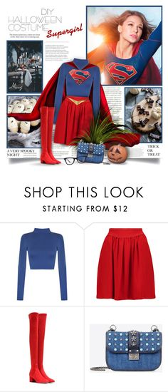 """""""DIY Halloween Costume:Supergirl"""" by thewondersoffashion ❤ liked on Polyvore featuring Episode, WearAll, Isabel Marant, Valentino and Ray-Ban"""