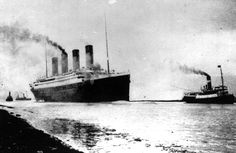 Titanic departs Southampton, England, for her maiden Atlantic Ocean voyage to New York #titanic