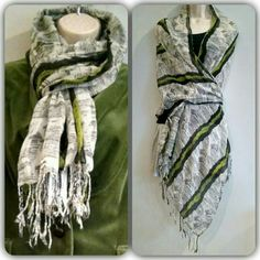 "HP Lightweight scarf Beautiful spring green organic stripes accent black and white on this light flowy polyester gauze scarf. A full 72"" l x 28"" w, gives you a variety of style choices for wear. Accessories Scarves & Wraps"