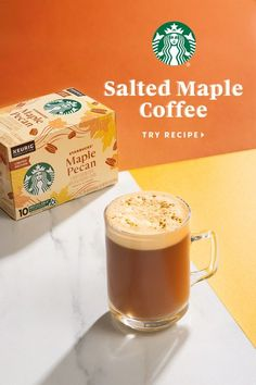 Starbucks newest fall coffee is here and ready to mingle with some of your favorite flavors—like maple syrup, almondmilk (or another non-dairy fave) and cinnamon. A dash of sea salt lifts up each ingredient for a tempting, delicious treat you'll enjoy all season long. Pecan Recipes, Coffee Recipes, Fall Recipes, Snack Recipes, Snacks, Starbucks Drinks, Coffee Drinks, Yummy Treats, Yummy Food