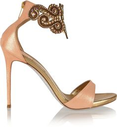 René Caovilla Embellished metallic leather sandals